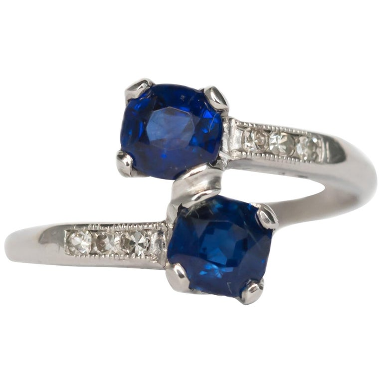 GIA Certified .71 Carat Sapphire Platinum Engagement Ring For Sale