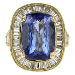 18 Karat Yellow Gold 5.5 Carat Tanzanite and Diamond Ring