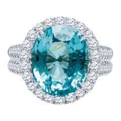 7.81 Carat Oval Blue Paraiba Tourmaline 'GIA' Ring with 1.00 Carat Total Diamond