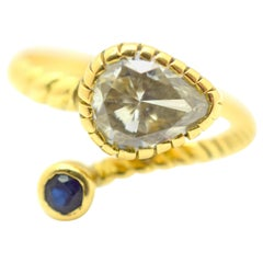 Retro Diamond Snake Ring 18 Karat Yellow Gold Sapphire Crossover 1.50 Carat