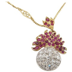 18 Karat Yellow Gold Diamond Ruby Pendant Necklace Vintage