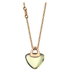 Modern Geometrical Triangle Heart 18k Gold Luck Rock Necklace with Lemon Citrine