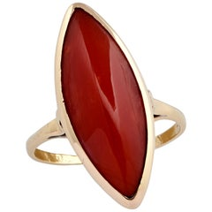 Italian Oxblood Coral Cabochon Ring