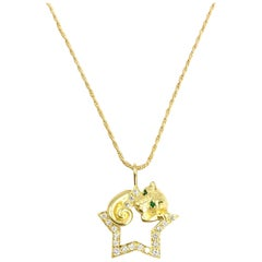 Vintage Charles Turi Diamond Panther Star Pendant Necklace