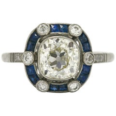 Old Mine Cushion Diamond Art Deco Engagement Ring Platinum French Blue Sapphires