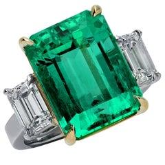 Vivid Diamonds 10.03 Carat Colombian Emerald and Diamond Ring