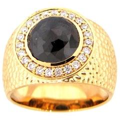 3.14 Carat Rose Cut Black Diamond Cocktail Ring
