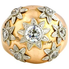 2.20 Carat 18 Karat Yellow Gold Diamonds Antique Dome Ring