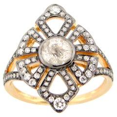 0.86 Carat Rose Cut Grey, White Diamond Cocktail Ring