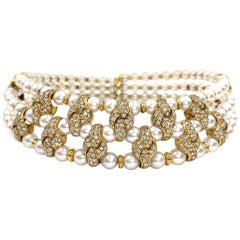 18 Karat Three-Row Pearl and Diamond Victorian Inspired Choker Necklace