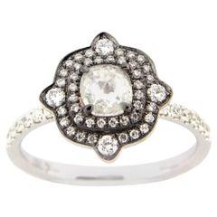 0.35 Carat Rose Cut Milky Diamond Cocktail Ring