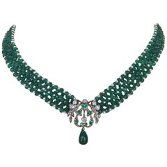 Woven Emerald and Pearl Necklace with Vintage Diamond and Emerald Centerpiece
