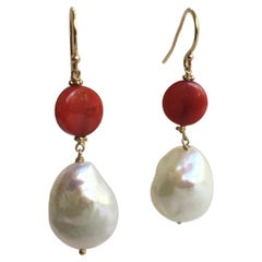 Round Coral and White Pearl Earrings with 14 Karat Yellow Gold Hooks and Wiring