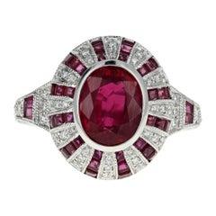 14 Karat White Gold 2.11 Carat Natural Burma Ruby & Diamond Ring GIA Certified