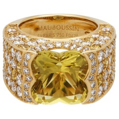 Mauboussin Yellow Gold Yellow Sapphire and Diamond with Yellow Beryl Stone Ring