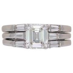 GIA 1.75 Carat Asscher Diamond Engagement Ring with Matching Enhancer