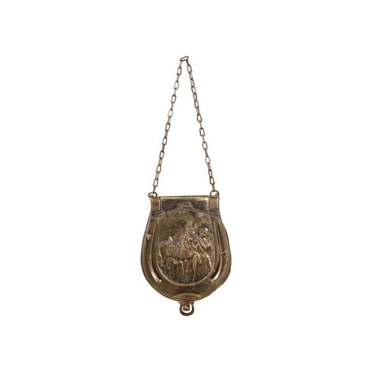 Stunning Collectible Brass 19th Century Cowgirl Makeup Pouch For Sale