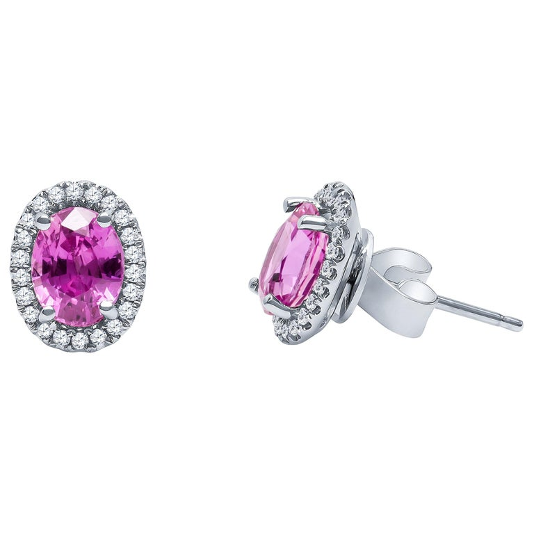 2.44 Carat Total Oval Natural Pink Sapphire Stud Earrings with Diamond Halos For Sale