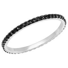 0.3 Approximate Carat TW Round Black Diamond Eternity Band 14 Karat White Gold