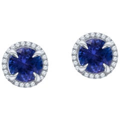 3.00 Carat Total Round Brilliant Tanzanite Stud Earrings with Diamond Halos