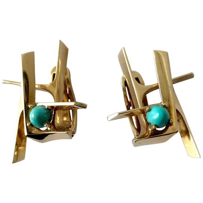 Ole Lynggaard Gold Persian Turquoise Danish Abstract Modernist Earrings For Sale