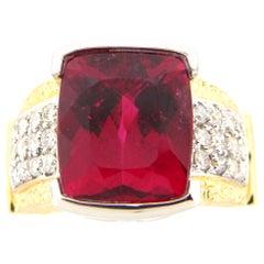 8.80 Carat Rubellite and Diamond Cocktail Ring in Platinum and 18 Karat Gold