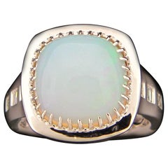 4.43 Carat Cushion Opal and Diamond Cocktail Ring