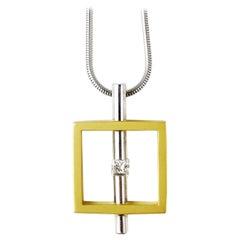 The Quadrangle, Diamond 18 Karat White and Yellow Gold Modern Art Necklace