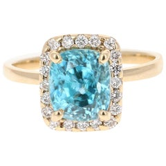 5.00 Carat Blue Zircon Diamond 14 Karat Yellow Gold Ring