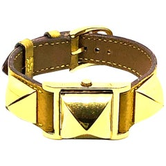 Vintage Hermes Gold Plated Medor Watch with Yellow Leather Strap