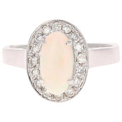 1.48 Carat Opal Diamond 14 Karat White Gold Ring