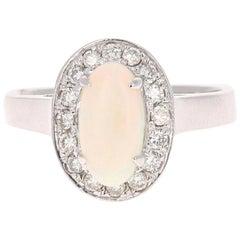 1.48 Carat Opal Diamond 14 Karat White Gold Ring