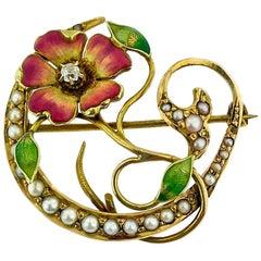 19th Century Enamel Pearl Art Nouveau Lotus Wild Flower Pin Pendant Brooch