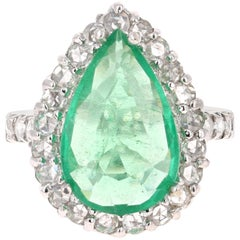 5.67 Carat Emerald Diamond 14 Karat White Gold Ring