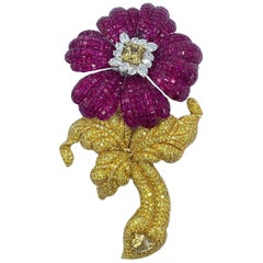 Massive and Fabulous Ruby and Canary Diamond Flower Brooch with Removable Stem