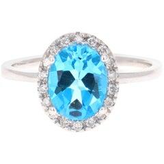 2.30 Carat Blue Topaz Diamond 14 Karat White Gold Cocktail Ring