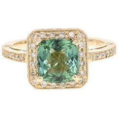 3.32 Carat Green Tourmaline Diamond 14 Karat Yellow Gold Cocktail Ring