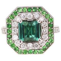 3.45 Carat Green Tourmaline Diamond 14 Karat White Gold Cocktail Ring
