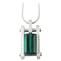 Liftoff, Green Tourmaline Diamond 18 Karat White Gold Contemporary Necklace