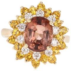 4.91 Carat Tourmaline Diamond 14 Karat Yellow Gold Ring