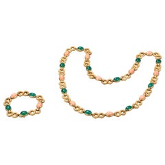 French Gold Coral and Agate Necklace and Bracelet Set