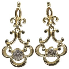 14 Karat Yellow Gold Diamond Dangle Earrings