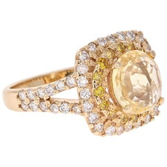 3.50 Carat GIA Certified Yellow Sapphire and Diamond 14 Karat Yellow Gold Ring