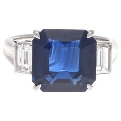 Modern Octagonal Royal Blue 5.21 Carat Natural Sapphire Diamond Platinum Ring