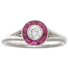 Jack Weir & Sons Modern Diamond Ruby Platinum Engagement Ring