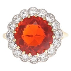 Modern Fire Opal Diamond Gold Ring