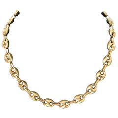 18 Karat Yellow Gold Mariner Style Link Chain Necklace