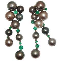 Paolo Piovan Tahitian Pearls, Emeralds and Diamonds Earrings