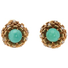 Vintage Cherny Turquoise Diamond Earrings 18 Karat Gold Round Estate Jewelry