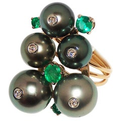 Paolo Piovan Tahitian Pearls, Emeralds and Diamonds Ring